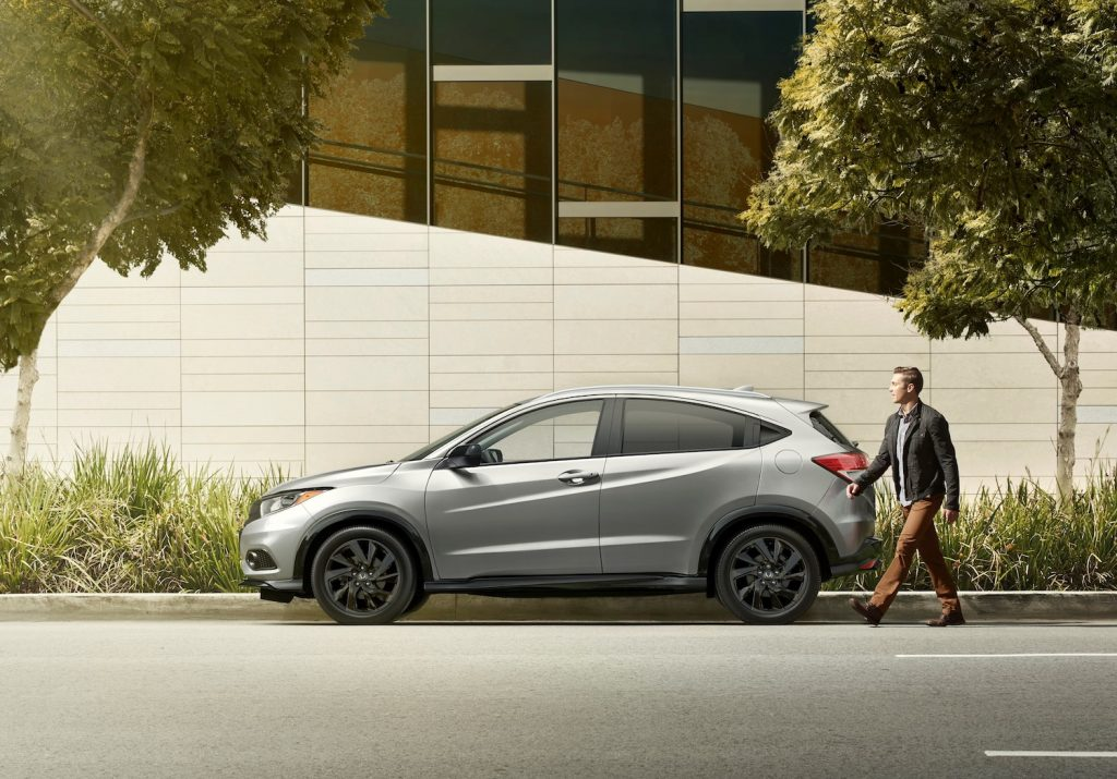 A silver 2021 Honda HR-V parked, one of the most reliable new SUVs under $30,000