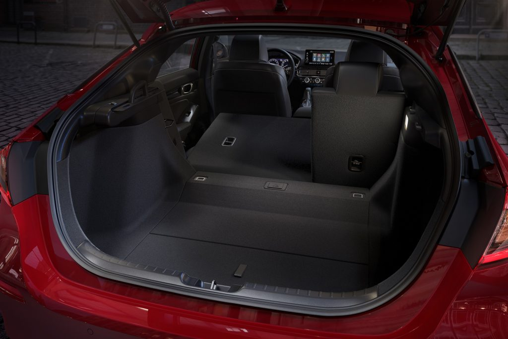 The cavernous hatch of the new Civic with the seats down