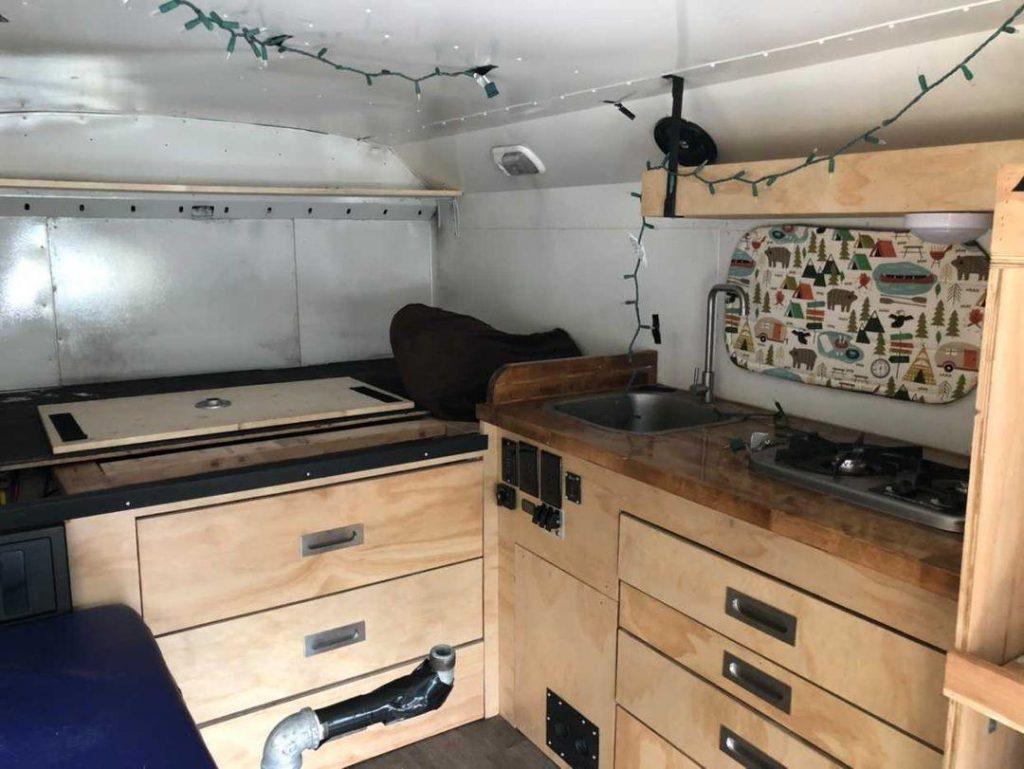 interior finish of the ford e350 minibus camper van convserion