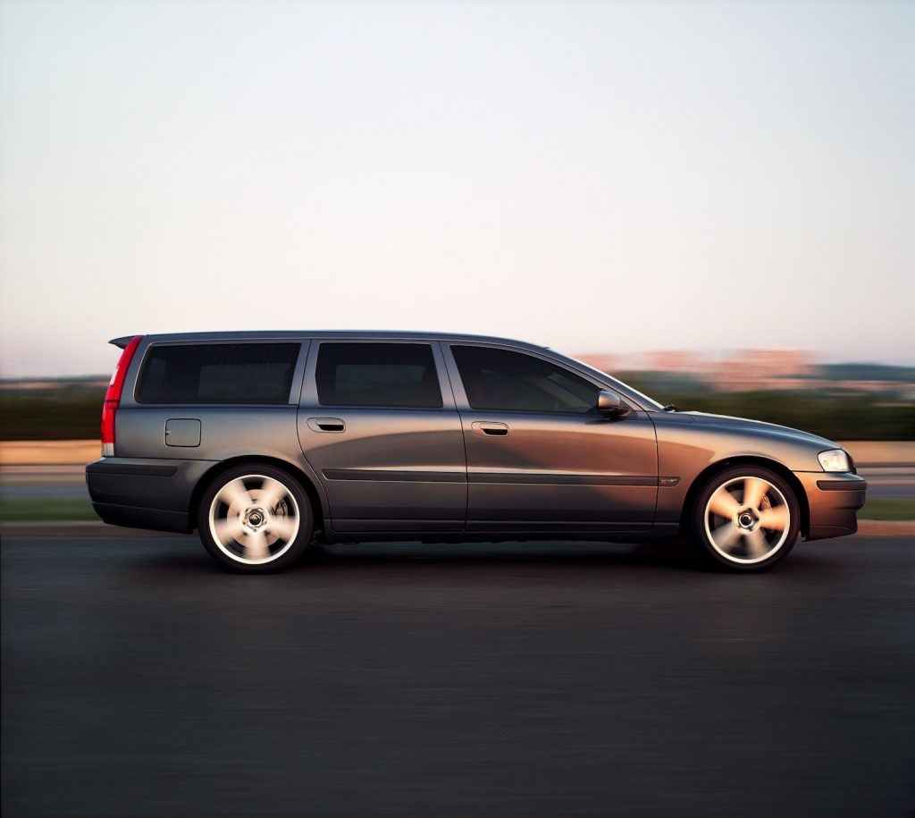 A grey 2003 Volvo V70 driving, one of the most interesting used cars under $1,000