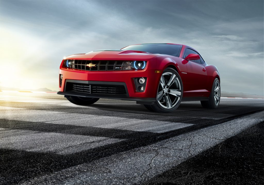 A red 2012 Chevrolet Camaro ZL1, one of the fastest used cars under $15,000