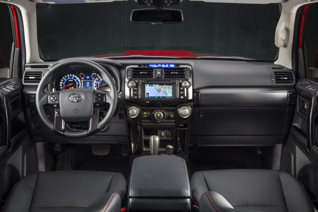 The interior of the 5th gen 4Runner, with navigation