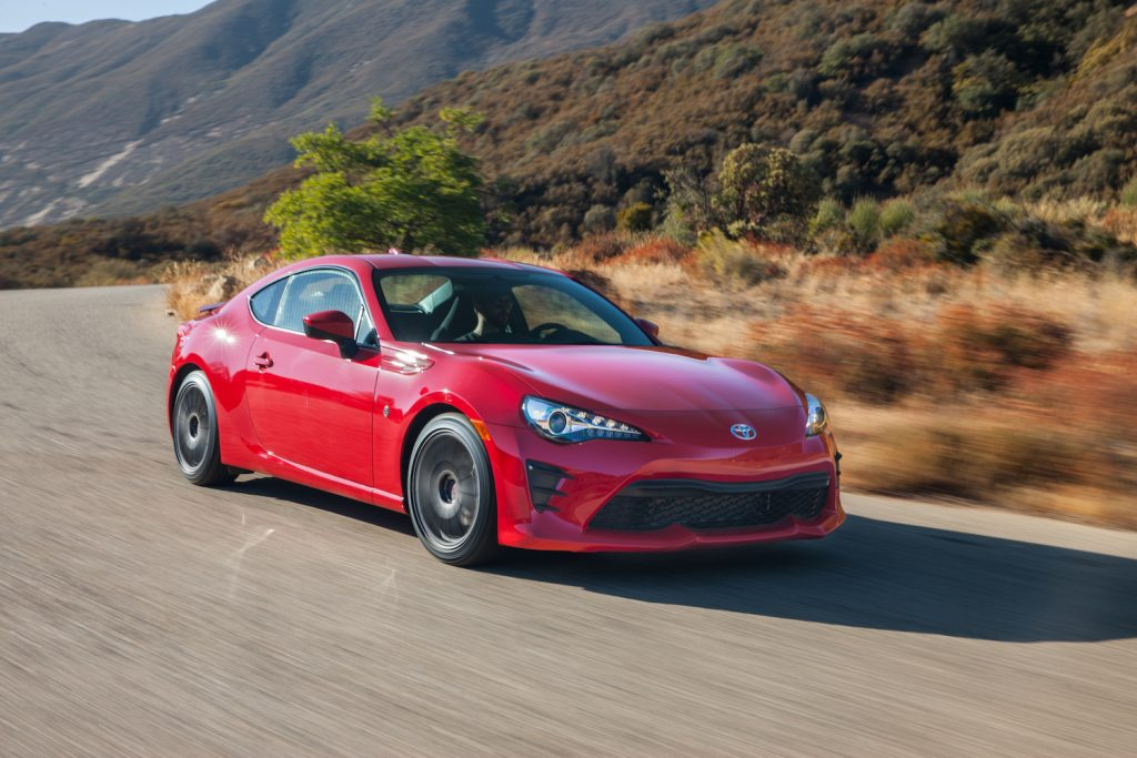A red 2018 Toyota 86 driving