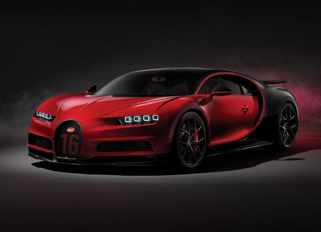 A red-and-black 2019 Bugatti Chiron Sport