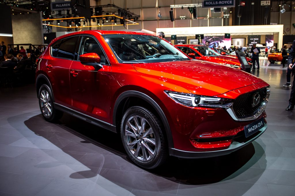 A red metallic 2019 Mazda CX-5 compact SUV on display at the 89th Geneva International Motor Show on March 5, 2019