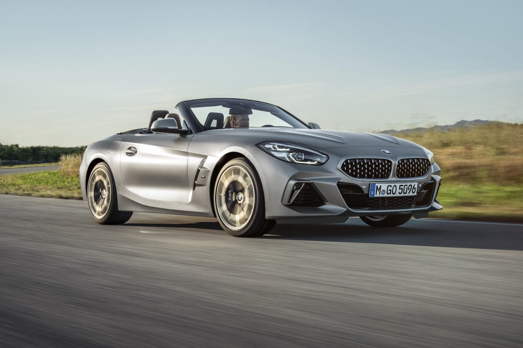 A silver 2020 BMW Z4 driving, one of the best used sports cars for summer