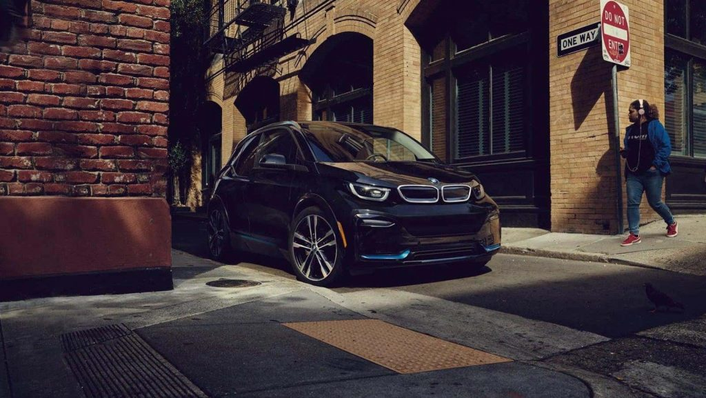2020 BMW i3 in front of brick building