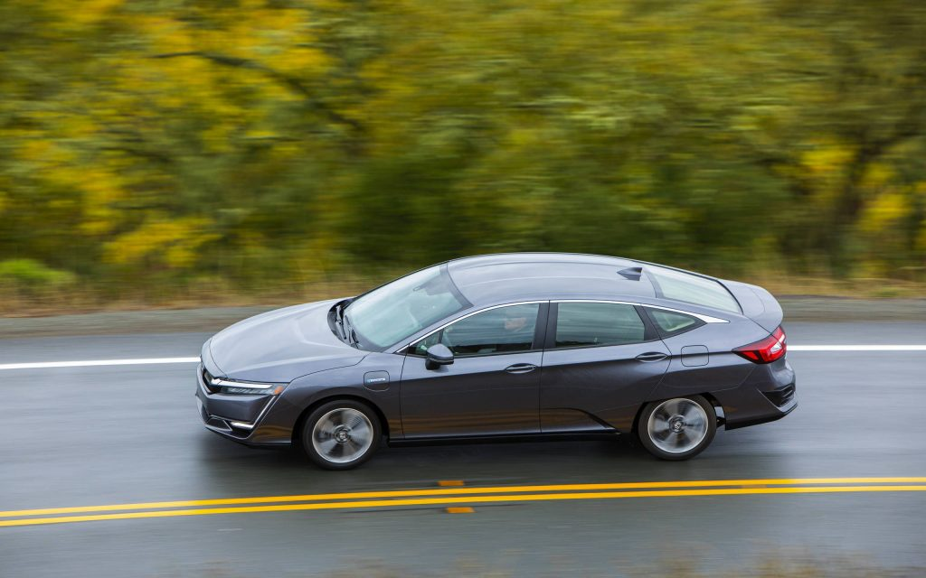 2020 Honda Clarity Fuel Cell tip up view on winding road