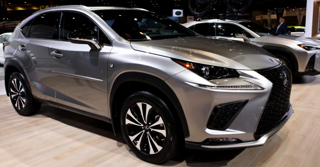 A silver 2020 Lexus NX 300 on display at the 112th Annual Chicago Auto Show at McCormick Place in Chicago, Illinois on February 7, 2020.