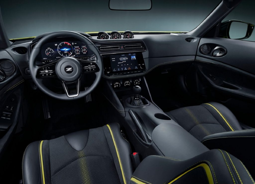 The black-and-yellow front seats and dashboard of the 2020 Nissan Z Proto Concept