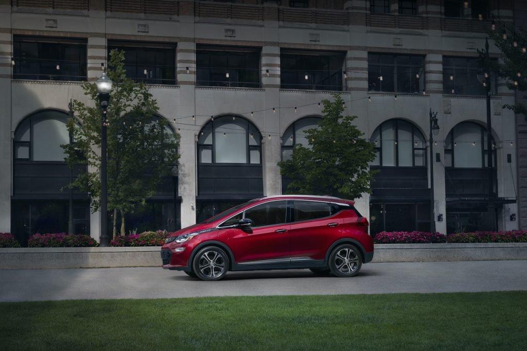 A red 2021 Chevrolet Bolt EV, one of the best American cars according to Consumer Reports