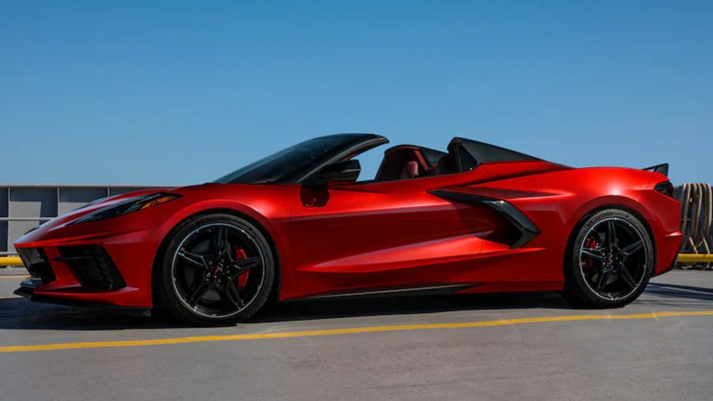 A red 2021 Chevrolet Corvette.
