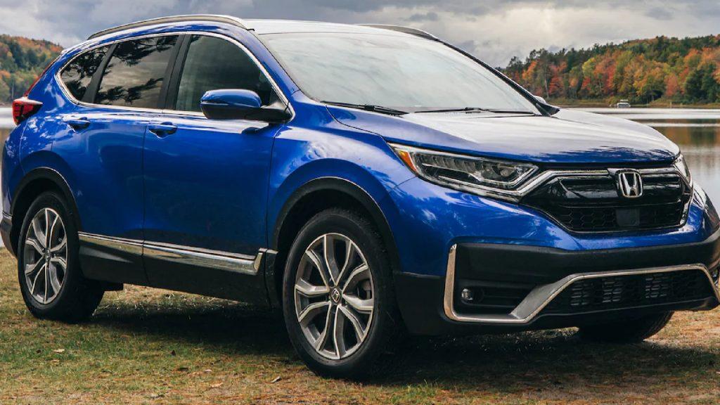 A blue 2021 Honda CR-V.