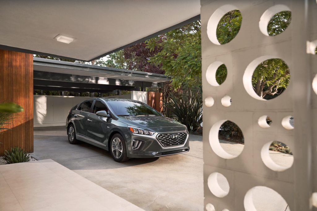 A grey 2021 Hyundai Ioniq Plug-In parked