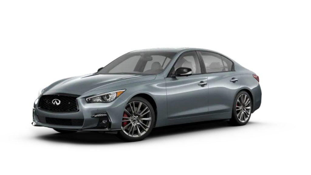 A gray 2021 Infiniti Q50.