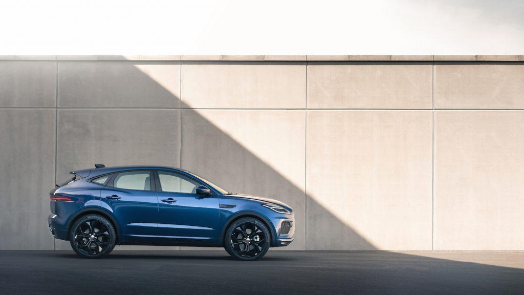 A blue 2021 Jaguar E-Pace parked, the 2021 Jaguar E-Pace is a sporty SUV