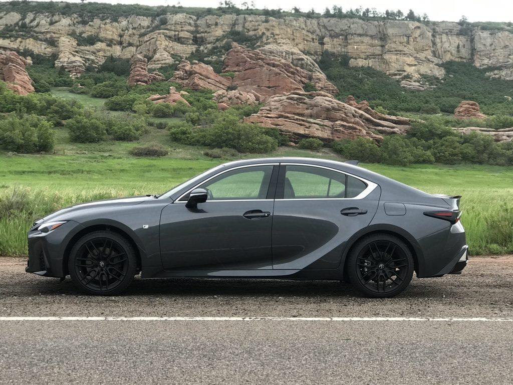 a side shot of the 2021 Lexus IS 350 F Sport