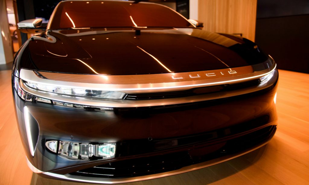 Black Lucid Air Grand Touring electric luxury car is displayed at the Lucid Motors Inc. studio and service center.