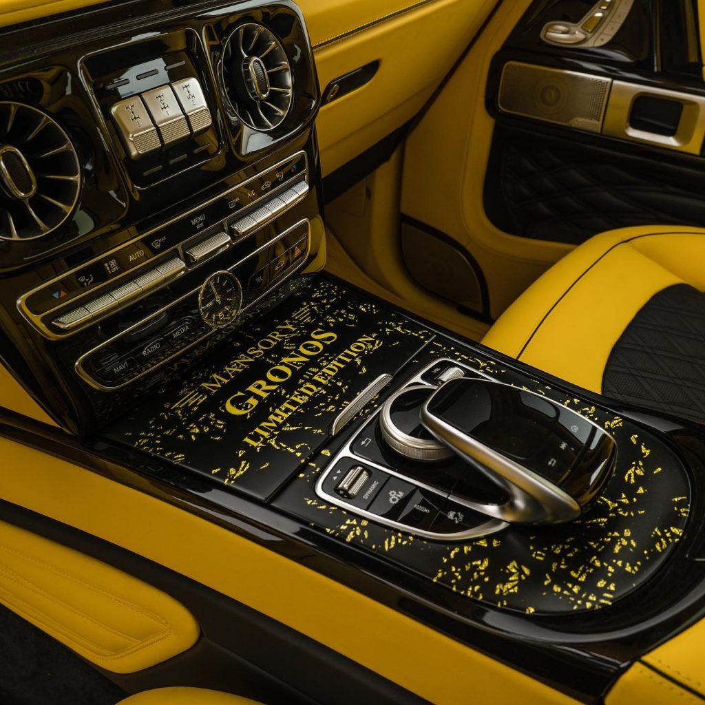 2021 Mansory Gronos Mercedes G-Wagen yellow splash console