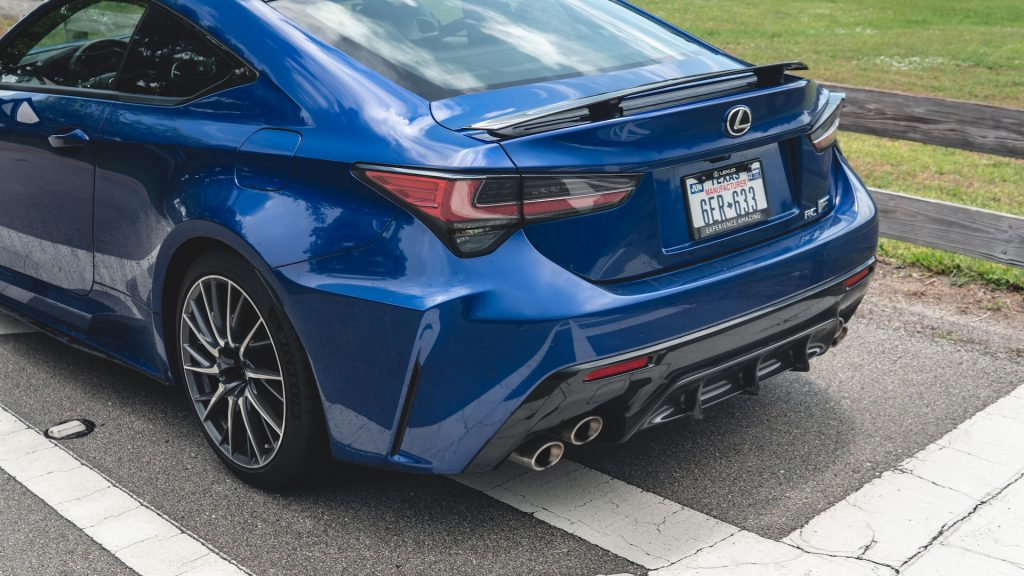 An image of a blue 2021 Lexus RC F parked outdoors.
