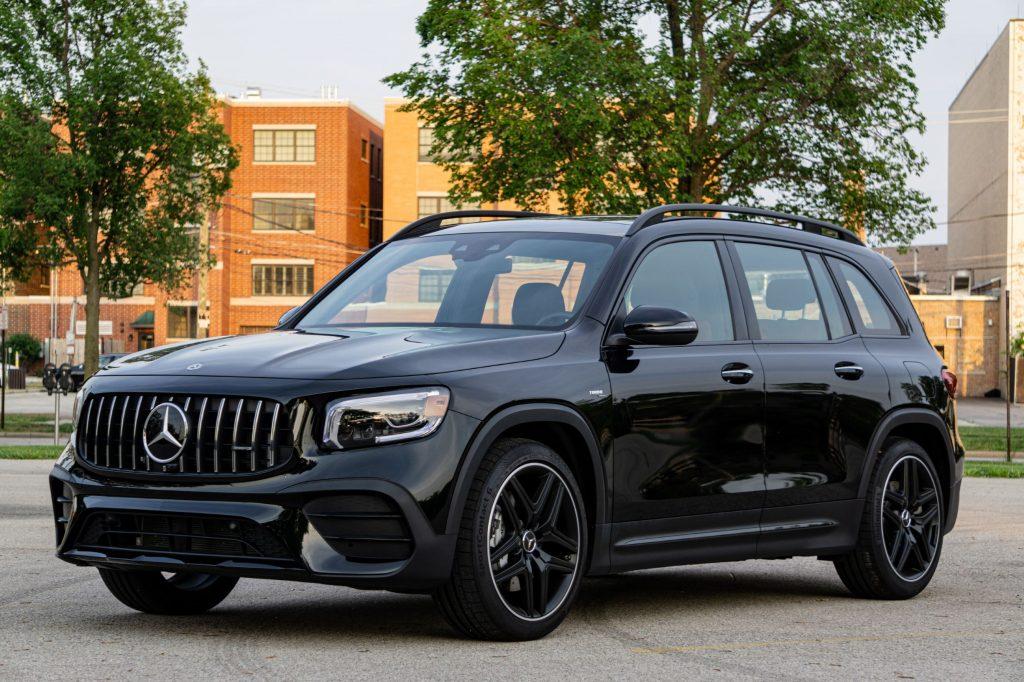 A black 2021 Mercedes-AMG GLB 35 in a parking lot