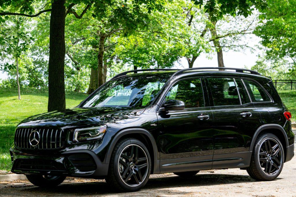A black 2021 Mercedes-AMG GLB 35 in a park parking lot