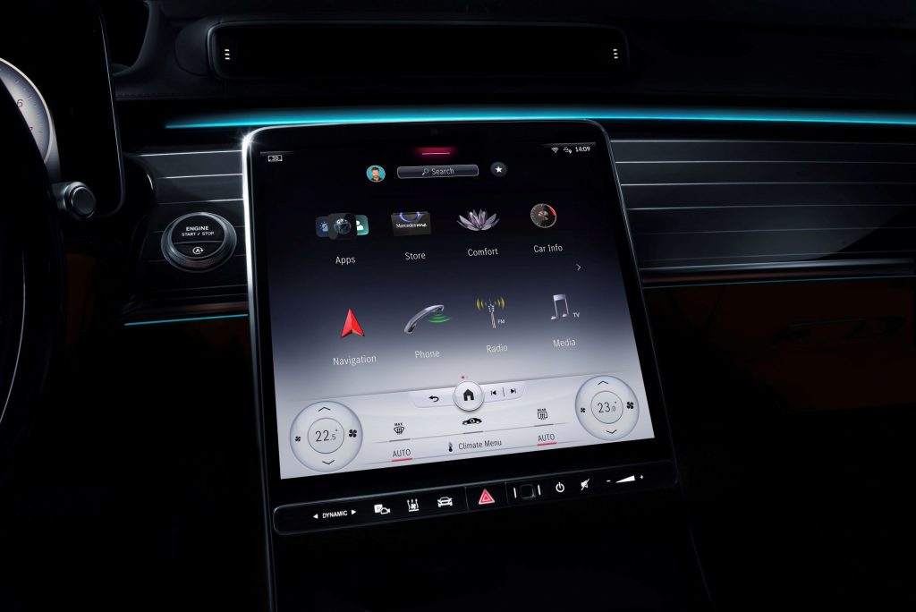 The center touchscreen on a 2021 Mercedes-Benz S-Class showing the MBUX infotainment system layout