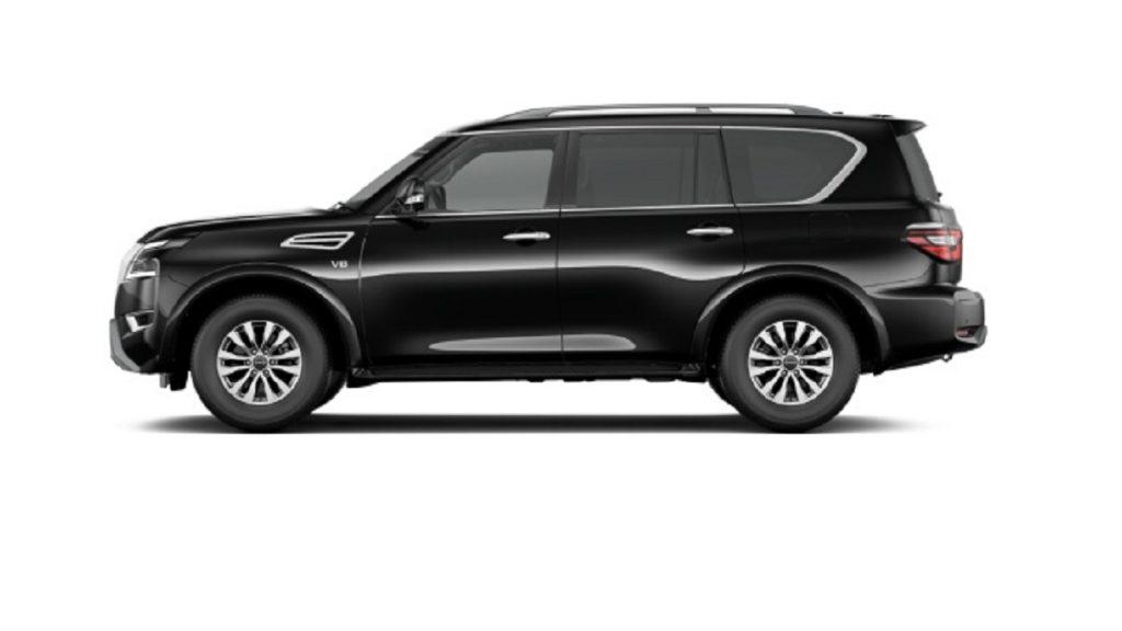 A black 2021 Nissan Armada against a white background.