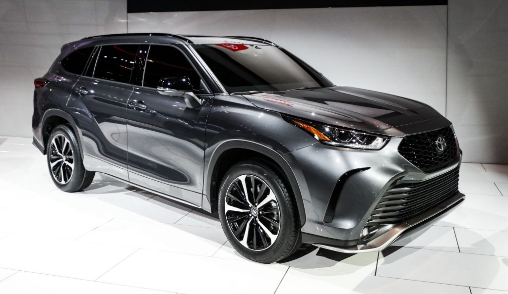 Toyota's gray 2021 Highlander XLE is displayed at the 2020 Chicago Auto Show Media Preview
