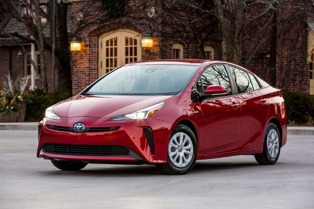 A red 2021 Toyota Prius