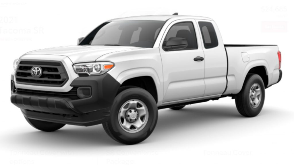 2021 base Toyota Tacoma pickup in fleet white