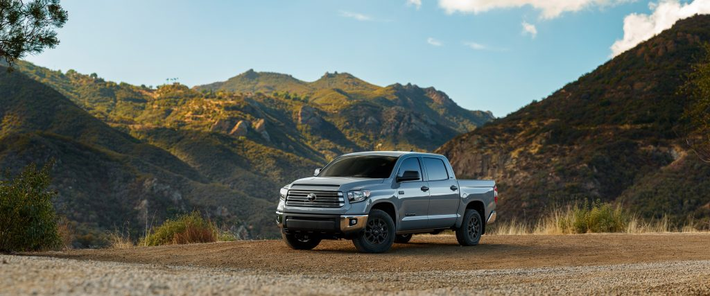 The 2021 Toyota Tundra parked in front of mountains