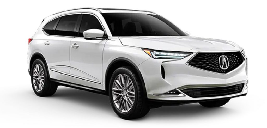 A white 2022 Acura MDX against a white background.