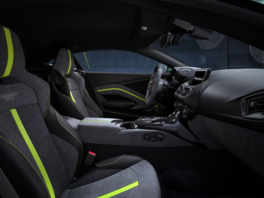 The green-and-black Alcantara-and-leather seats and dashboard of a 2022 Aston Martin Vantage F1 Edition