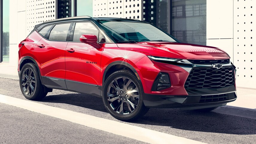 A red 2022 Chevy Blazer with two-tone paint