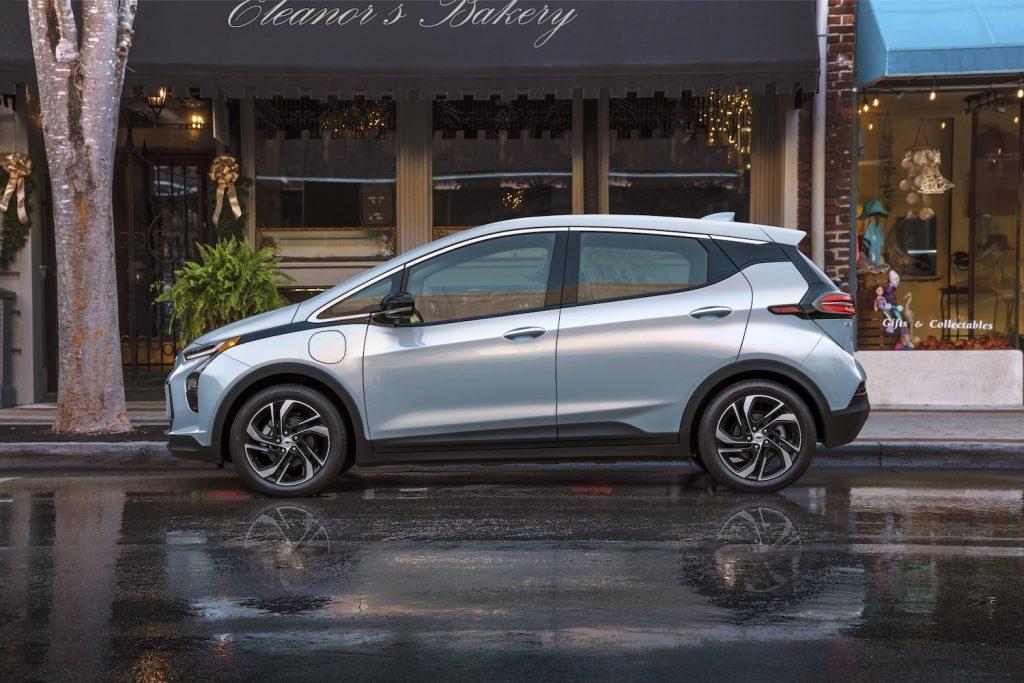 A silver 2022 Chevrolet Bolt EV parked