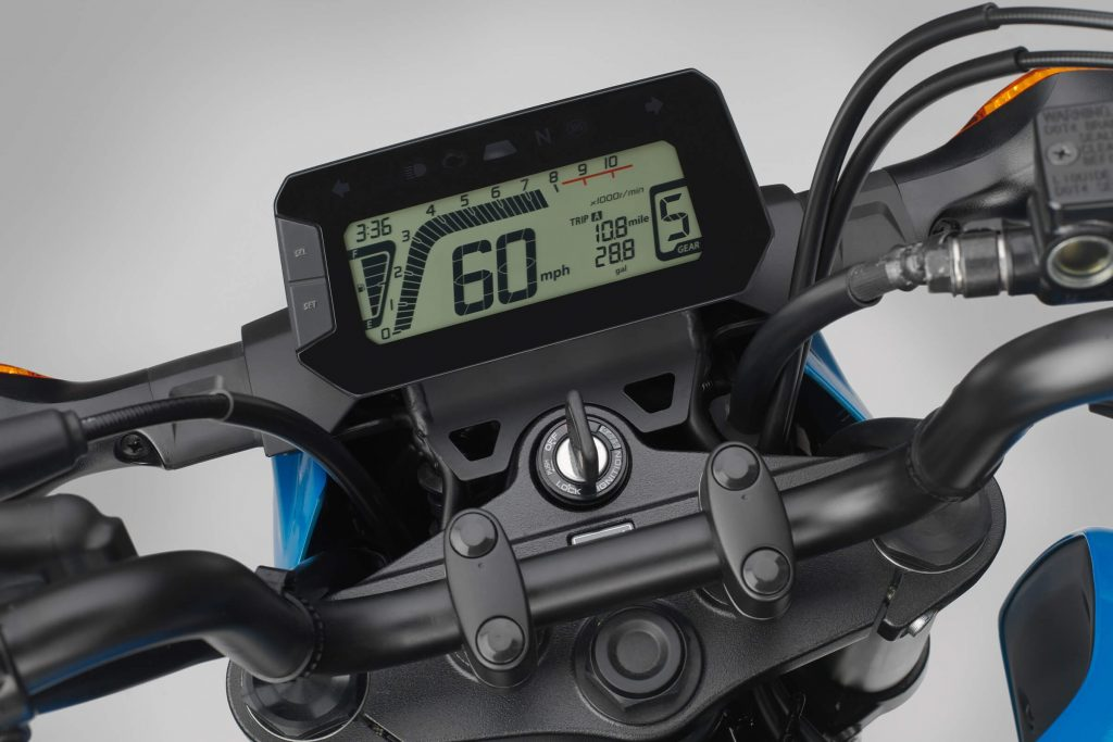 A close-up of the LCD display on the 2022 Honda Grom