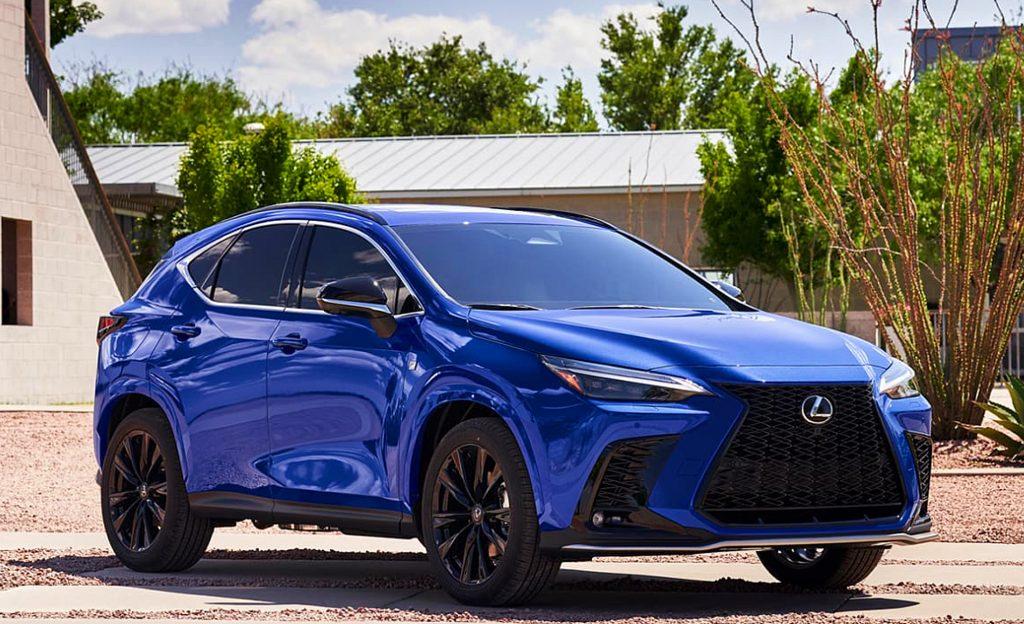 A Blue 2022 Lexus NX.