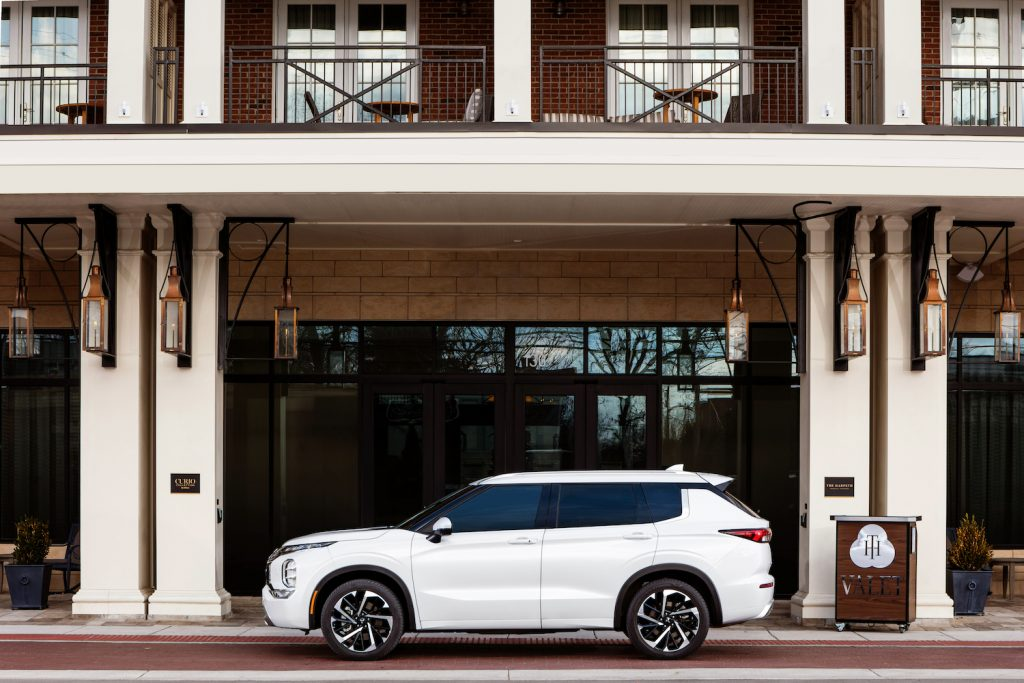 A white 2022 Mitsubishi Outlander, the most improved new SUV of 2021
