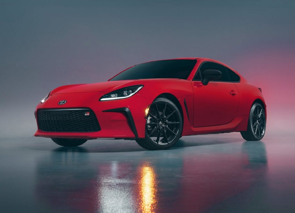 A low-angle shot of a red 2022 Toyota GR 86