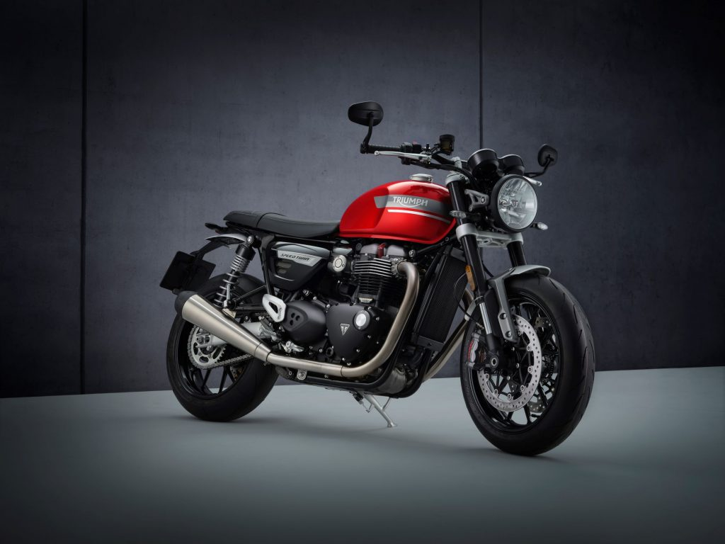 A red-and-black 2022 Triumph Speed Twin