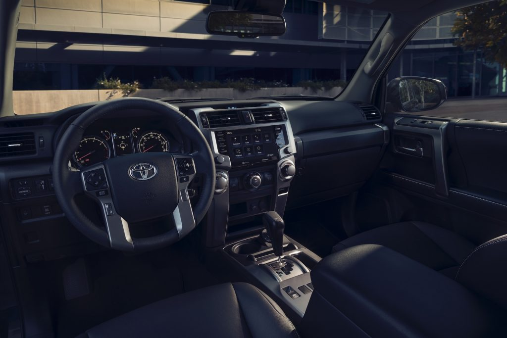 The gray front seats and dashboard of a 2022 Toyota 4Runner TRD Sport
