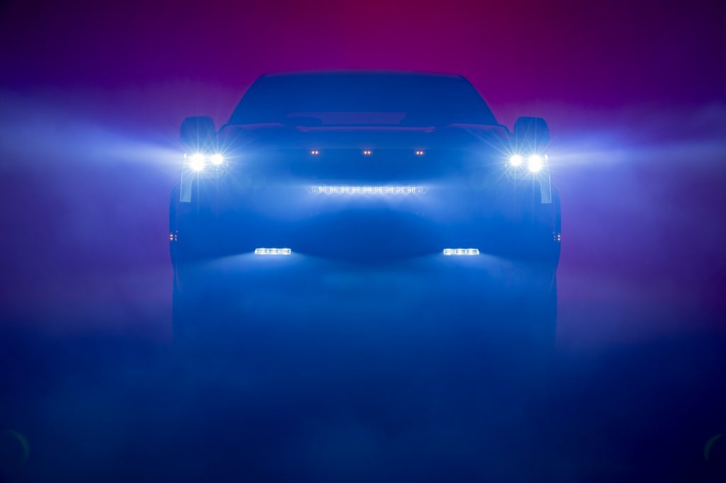 A shadowy teaser image of the new 2022 Toyota Tundra