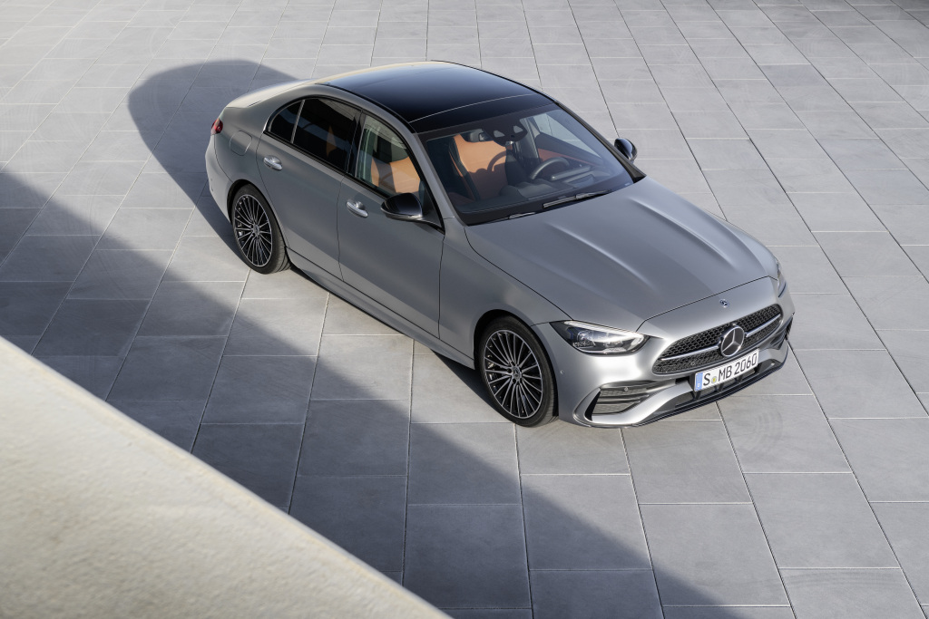 The 2022 Mercedes-Benz C-Class in silver, photographed above