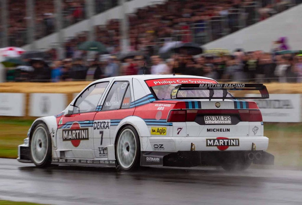 The rear of the Martini-liveried 155 in the rain