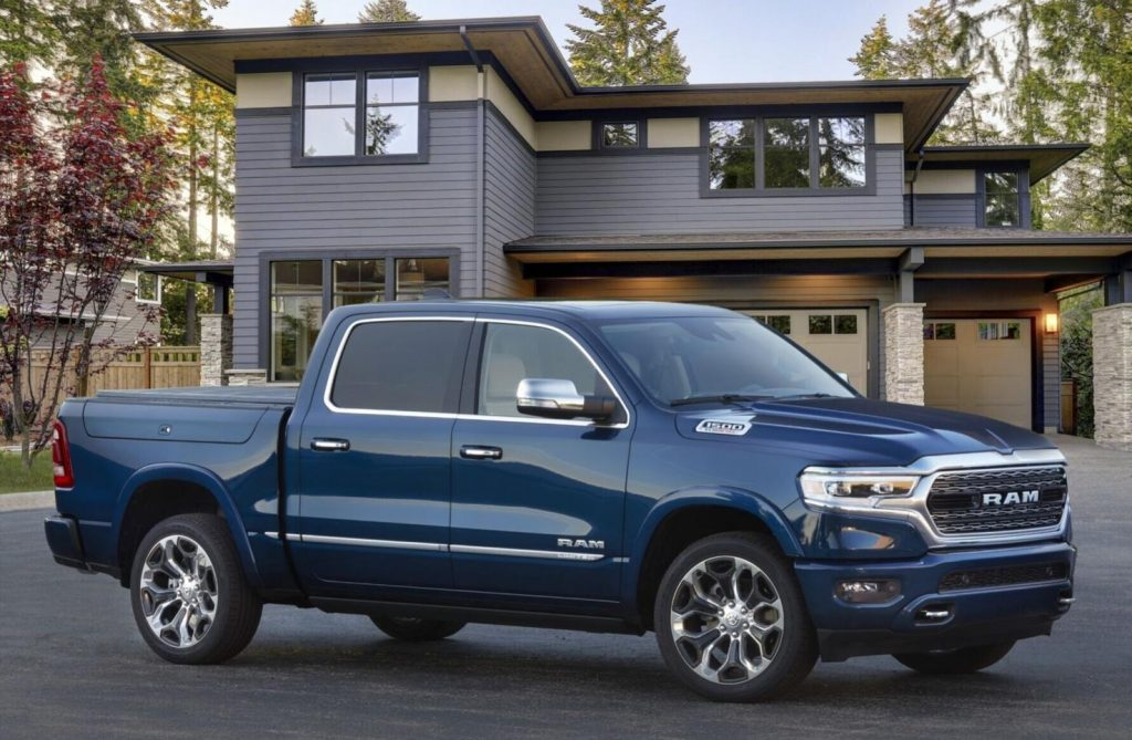 The 2022 Ram 1500 Limited 10th Anniversary Edition parked near a home