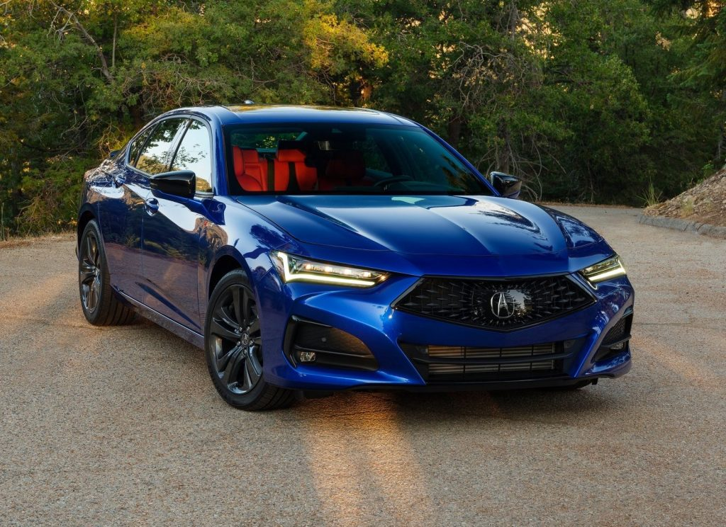 An image of a Acura TLX, one of the most discounted new cars according to consumer reports.