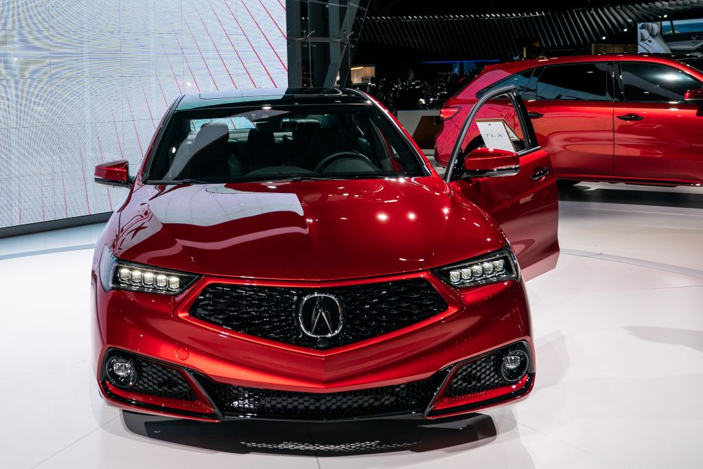 A Honda Motor Co. Acura TLX special edition sedan is displayed during the 2019 New York International Auto Show (NYIAS)