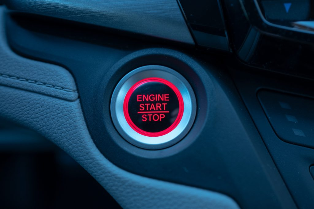 Close-up of engine start and stop button