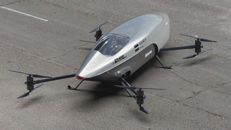 Airspeeder flying race car rear 3/4 view